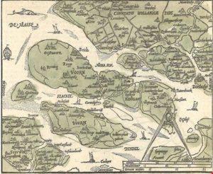 De Zuid-Hollandse eilanden eind zestiende eeuw. Zacharias Heyns, Duvelandia et Vornia, 1598. (Streekarchief Goeree-Overflakkee)